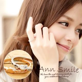 【微笑安安】鏤空單鑽愛心316L西德鋼戒指(共2色)   微笑安安