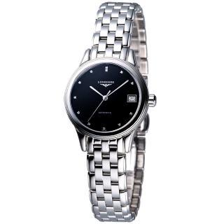 【LONGINES】旗艦系列真鑽機械錶女錶-黑(L42744576)
