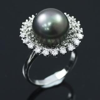 【蕾帝兒珠寶】動人黑色貝殼珍珠戒指