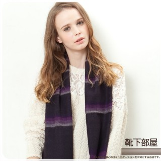 【靴下部屋】日安巴黎˙線條織紋圍巾(深紫色)