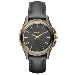 【DKNY】絕代魅力晶鑽都會腕錶(黑金 NY8703)