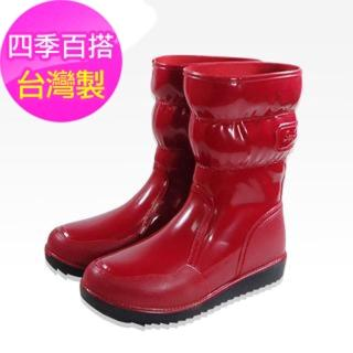 【Sanho】四季時尚長雨靴(蘋果紅)