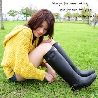 【Sanho】時尚典雅防水長筒雨靴(帥氣黑)