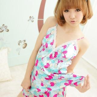【lingling春夏款】Q335熱情花朵細肩帶兩件式睡衣組(清新藍)