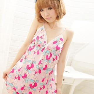 【lingling春夏款】Q335熱情花朵細肩帶兩件式睡衣組(嬌柔粉)