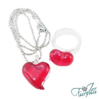 【伊飾童話】紅璃情深*心型玻璃項鍊/戒指組