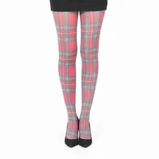 【摩達客】英國進口義大利製 Pamela Mann 紅綠方格紋印花彈性褲襪