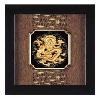【開運陶源】金箔畫 純金 小 -古典中國風系列-(祥龍獻瑞...24x24cm)