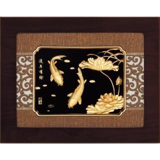 【開運陶源】金箔畫 純金 *古典中國風系列*(連年有餘...34x27cm)