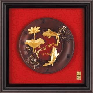 【開運陶源】雅鑑鑫品金箔畫圓盤系列 小 鯉魚(連年有餘...23x23cm)