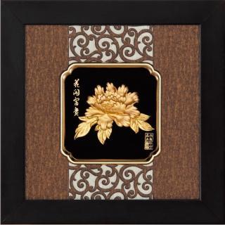 【開運陶源】金箔畫 純金 小 *古典中國風系列*牡丹(花開富貴...24x24cm)