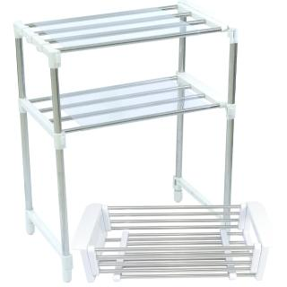 不鏽鋼多功能萬用伸縮置物架(加值配伸縮瀝水籃)