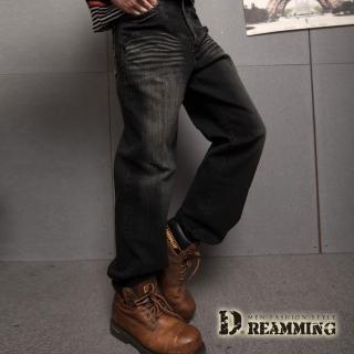 【Dreamming】造型口袋刷紋伸縮中直筒牛仔褲