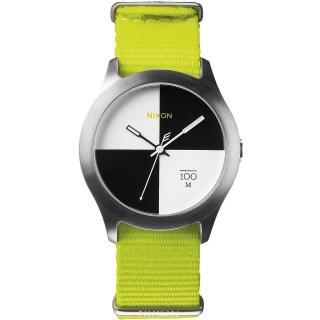 【NIXON】The Quad 混搭潮流時尚腕錶-黑x白/亮綠(A344-1262)