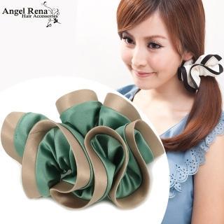 【Angel Rena】諾薇雅綢緞滾邊大腸圈髮束(翡綠˙香檳邊)