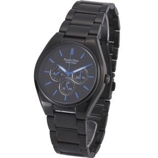 【RD 羅梵迪諾】極光炫風三眼黑鋼腕錶-藍/40mm(9803MB-436  )
