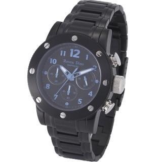 【RD 羅梵迪諾】運動潮男大錶面計時腕錶/IP黑*藍/43mm (627B-696)