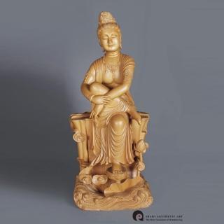 【荒木雕塑藝品】自在觀音(2尺)   MU LIFE 荒木雕塑藝品