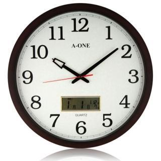 【A-ONE】大尺寸 核木紋LCD雙顯示掛鐘(TG-0228)