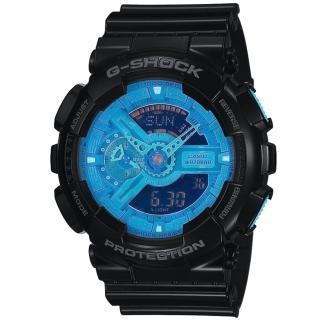 【CASIO】G-SHOCK 超重型戰機雙顯錶(藍黑 GA-110B-1A2DR)
