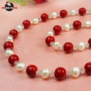 【HEMA KING】珊瑚色磁性健康珠項鍊-一生一世