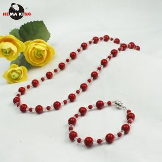 【HEMA KING】珊瑚色磁性健康珠項鍊-絕代佳人