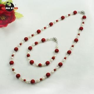 【HEMA KING】珊瑚色磁性健康珠項鍊-時尚女郎