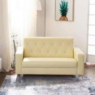 【KIKY】香榭水鑽2人座皮沙發組(3色可選)