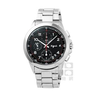 【agnes b】小B魅力炫黑三眼計時腕錶-黑(BF8319P1)