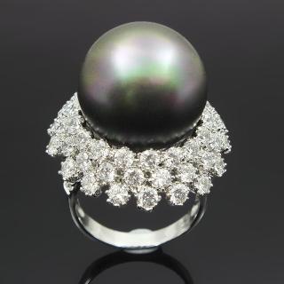 【蕾帝兒名品-】圓鑽黑色貝殼珍珠戒