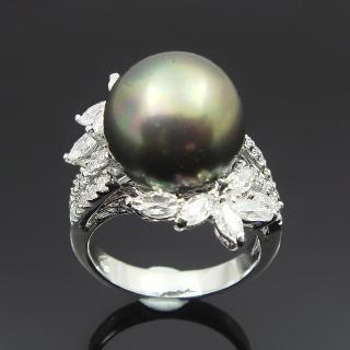 【蕾帝兒名品-】迷人風采黑色貝殼珍珠戒