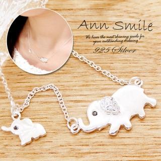 【微笑安安】雙墜小象925純銀細緻項鍊