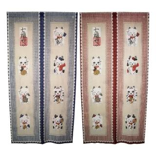 日式福貓針織長門簾-YSJ853(藍紅二入組86x170cm)