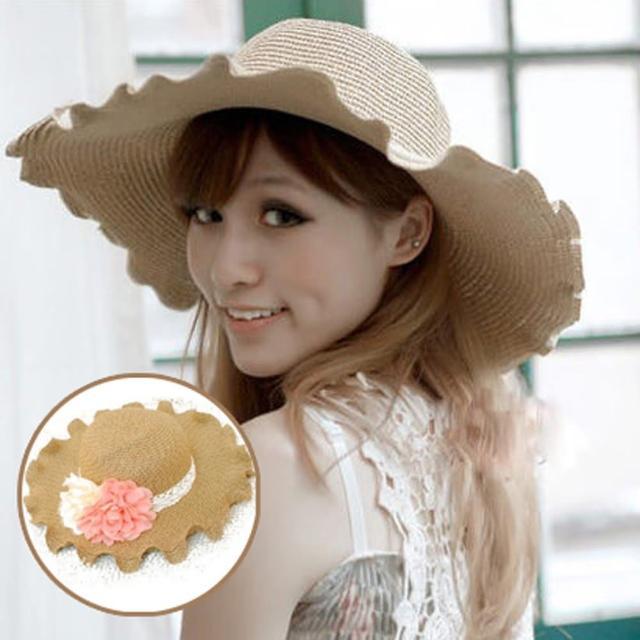 【PS Mall】甜美公主範波浪邊花朵草帽(G787)
