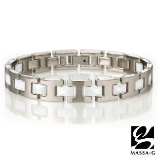 【MASSA-G】Deco系列 永恆印記 白色陶瓷純鈦手環