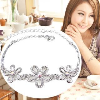 【A.dore】卡地亞娜璀璨花鑽˙手環式手鍊(銀白K˙晶白鑽)