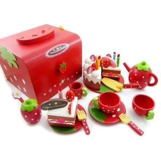 草莓蛋糕點心木製玩具手提組(家家酒)