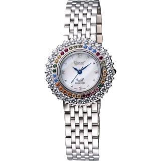 【Ogival】愛其華 彩色薔薇真鑽腕錶-銀(380-012DLS)
