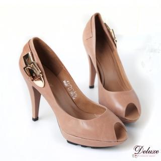 【Deluxe】法式優雅.嚴選柔軟胎牛皮素面魚口高跟鞋(★咖)