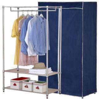 【克諾斯】120*45*180三層防塵衣櫥架(深藍灰邊)