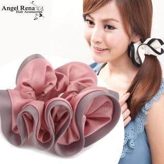 【Angel Rena】諾薇雅綢緞滾邊大腸圈髮束(粉紅˙藕紫邊)