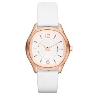 【DKNY】城市漫步都會時尚腕錶(皮帶-玫瑰金 NY8808)