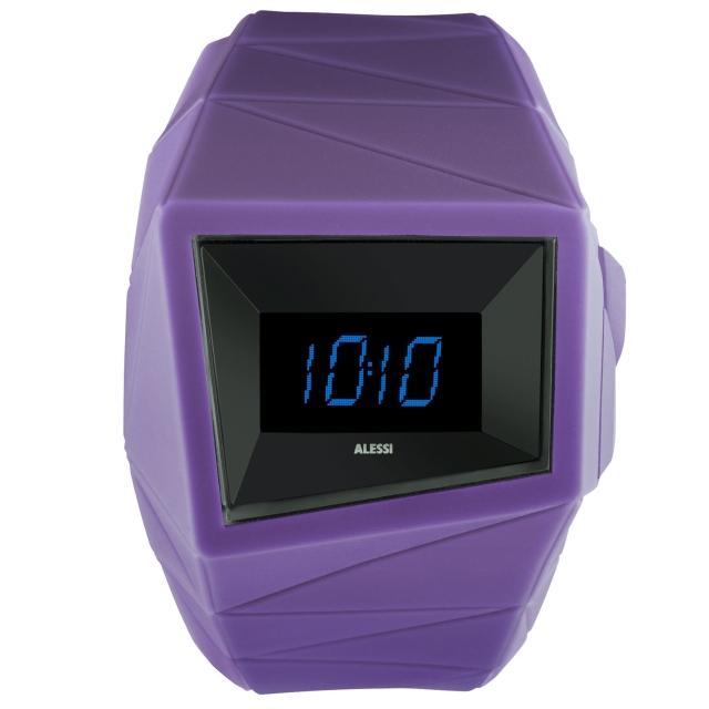 【ALESSI】線條結構立體電子腕錶-紫(AEAL22003)