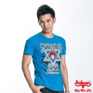 【BOBSON】男款六芒星印圖合身短袖上衣(水藍23020-54)