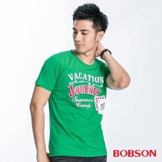 【BOBSON】男款VACATION印圖合身版短袖上衣(綠23037-40)