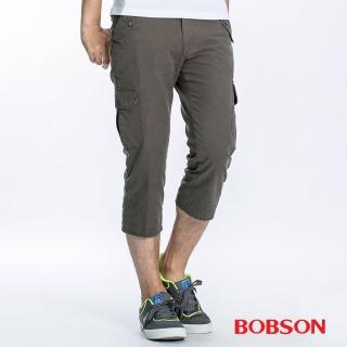 【BOBSON】男款貼袋休閒七分褲(兵綠41)