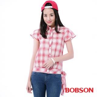 【BOBSON】女款格紋腰綁帶短袖襯衫(紅13)
