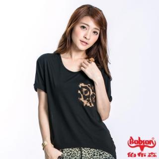 【BOBSON】女款雪紡豹紋短袖上衣(黑23128-88)