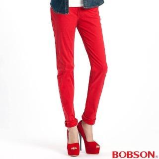 【BOBSON】女款多彩色彈性小直筒褲(紅13)