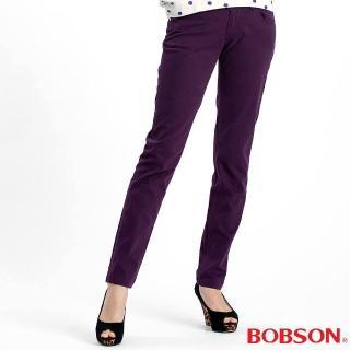 【BOBSON】女款多彩色彈性小直筒褲(紫61)